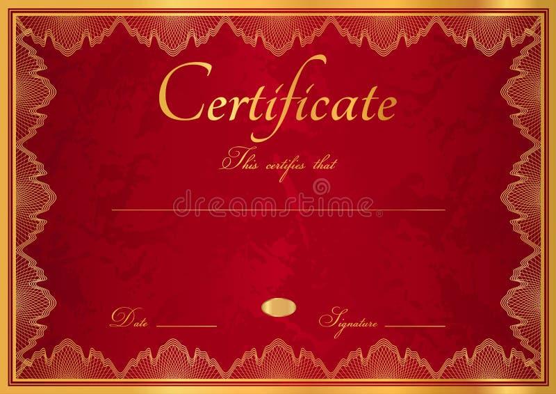 Röd diplom-/certifikatbakgrund med gränsen vektor illustrationer