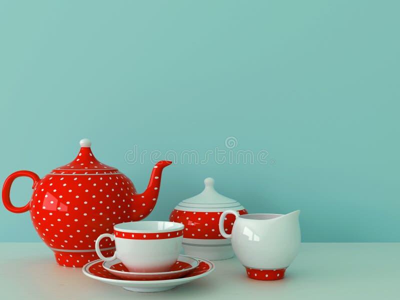 Röd dishware på en blåttbakgrund stock illustrationer