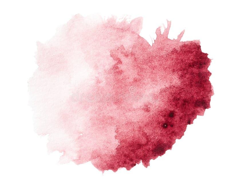 Röd dragen vattenfärgfärgstänkhand royaltyfri foto