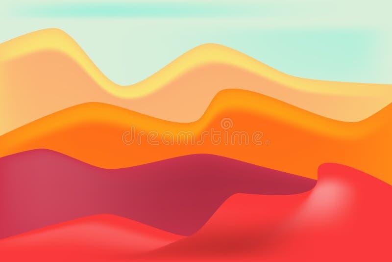 Röd dyn- och sandbakgrund stock illustrationer