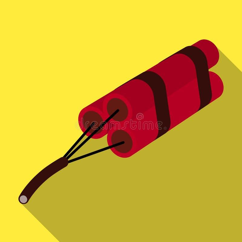 Röd dynamit i tre delar Sprängmedel som vredesutbrott vagga Enkel symbol för min bransch i plant stilvektorsymbol royaltyfri illustrationer