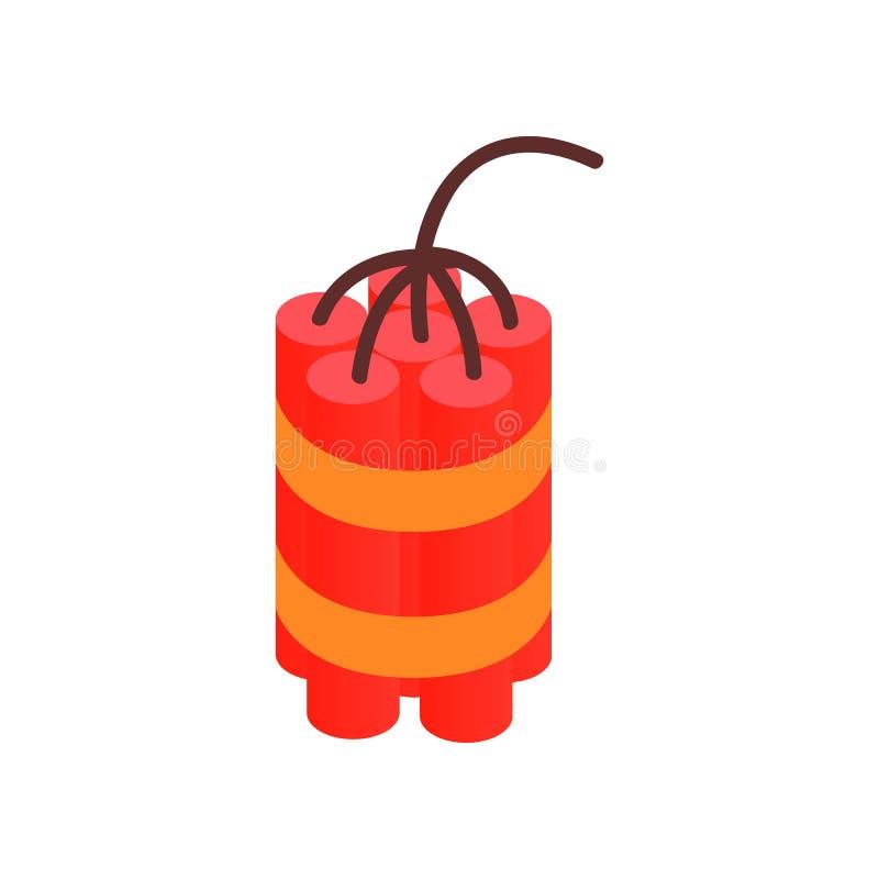 Röd dynamit klibbar den isometriska symbolen 3d royaltyfri illustrationer