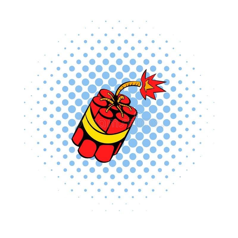 Röd dynamit klibbar symbolen, komikerstil royaltyfri illustrationer