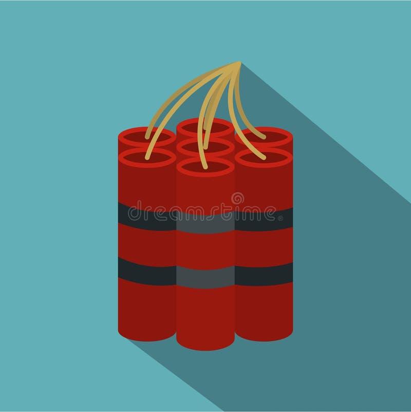 Röd dynamit klibbar symbolen, lägenhetstil stock illustrationer