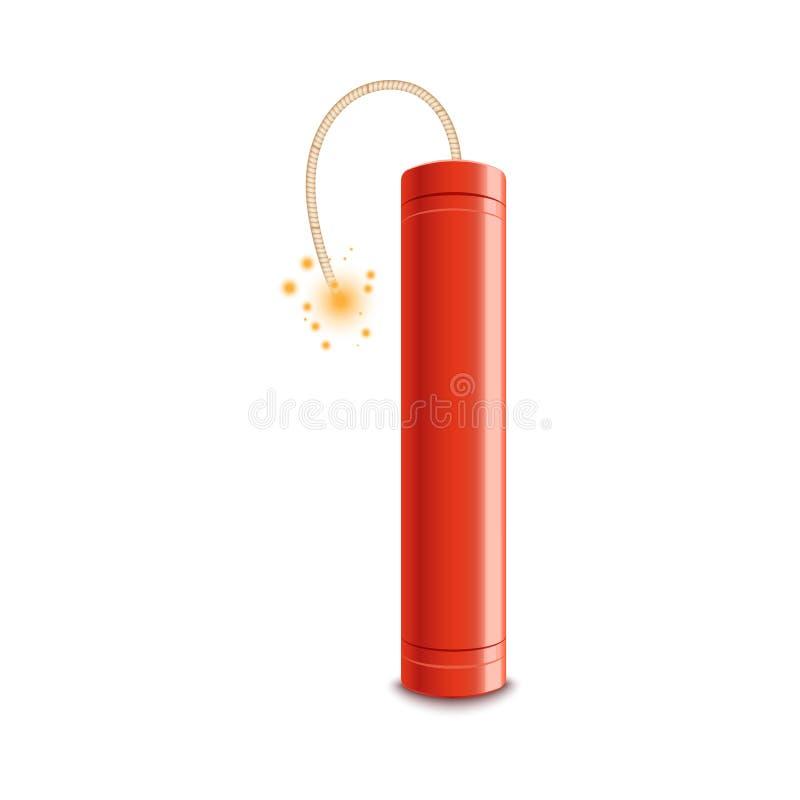 Röd dynamitpinne med den tända säkringen som är klar att explodera stock illustrationer
