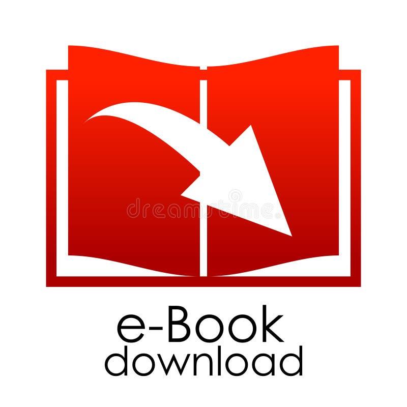 Röd eBookemblem för vektor royaltyfri illustrationer