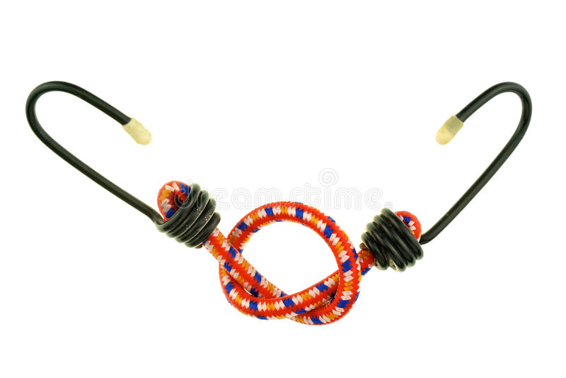 Röd elastisk rem med den isolerade svarta kroken royaltyfria foton
