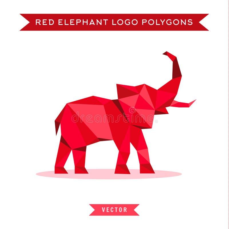 Röd elefantlogo med lågvatten och lågt poly royaltyfri illustrationer