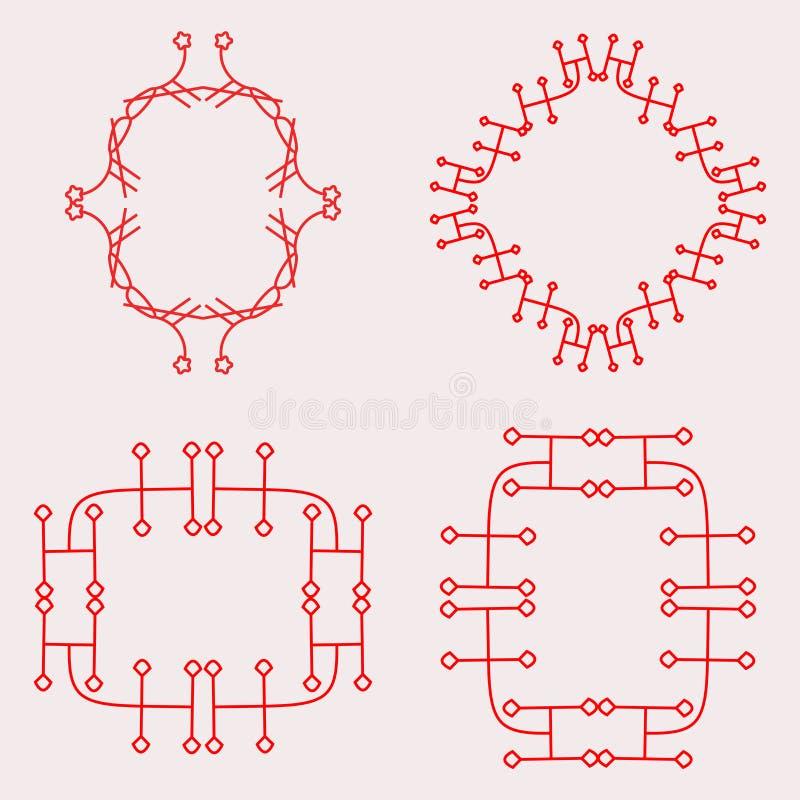 Röd enkel uppsättning för monogramdesignram stock illustrationer