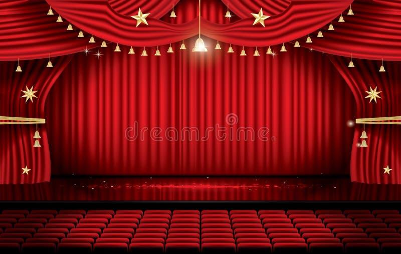 Röd etappgardin med platser och kopieringsutrymme Teater, opera eller C stock illustrationer
