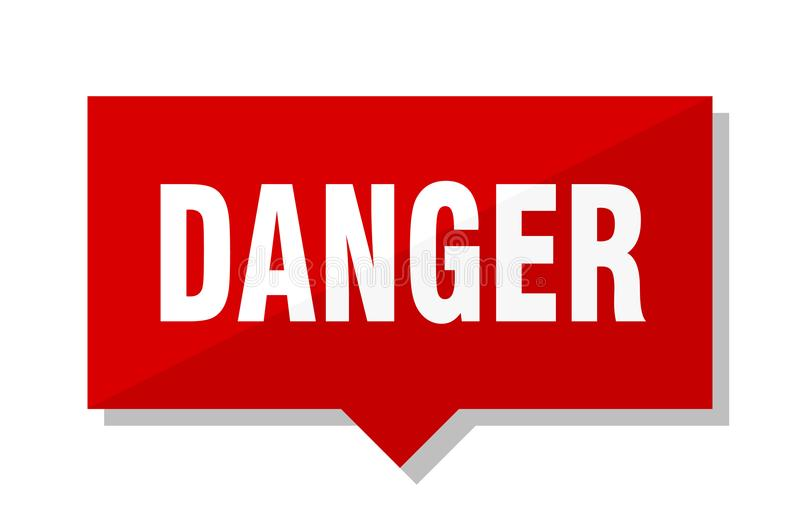 Röd etikett för fara stock illustrationer