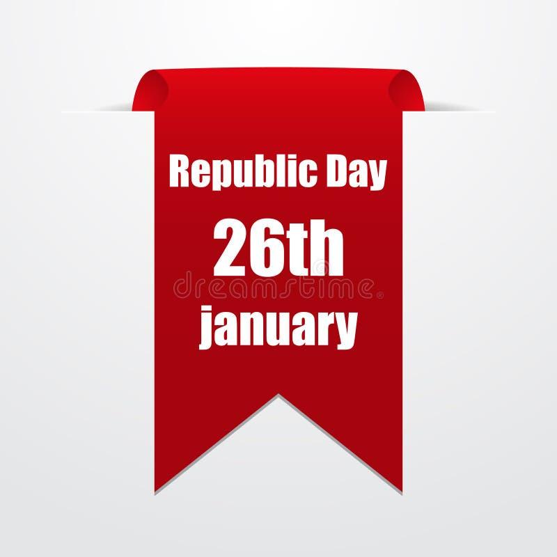 Röd etikett med datumet av republikdagen Indien också vektor för coreldrawillustration vektor illustrationer
