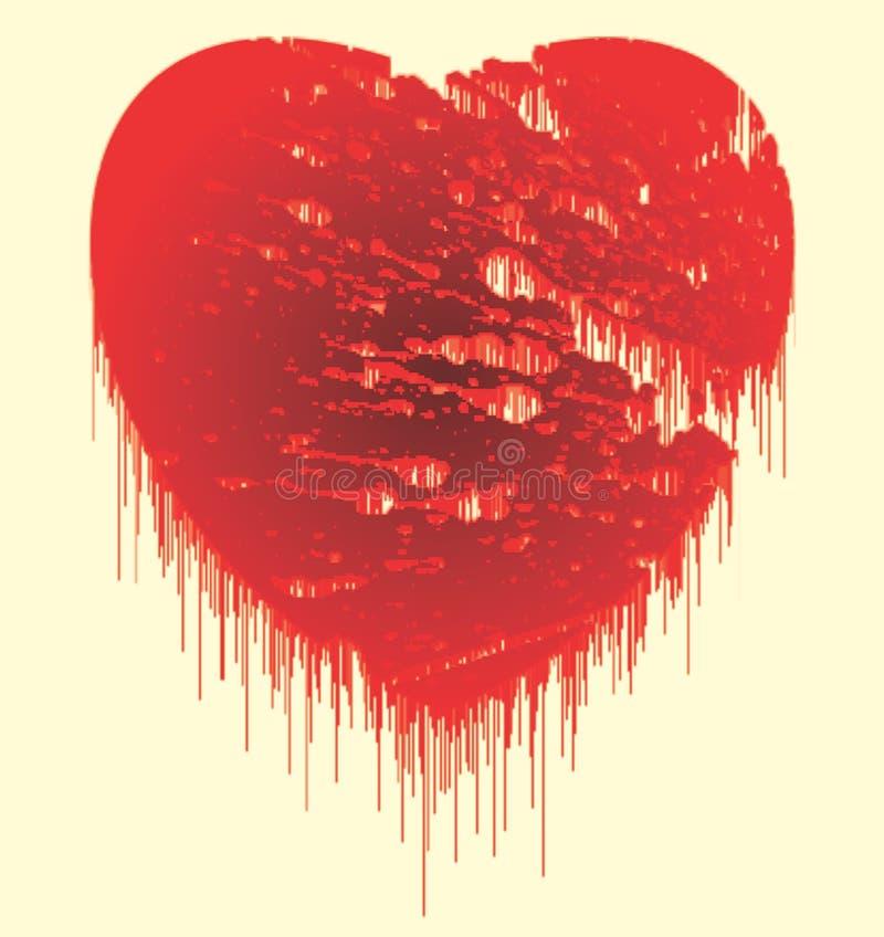 Röd färg som smälter stilfull hjärtavektorbild, och datorillustrationen planlägger vektor illustrationer
