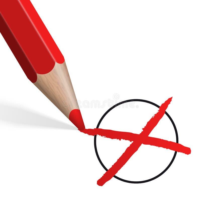 Röd färgpenna med korset vektor illustrationer