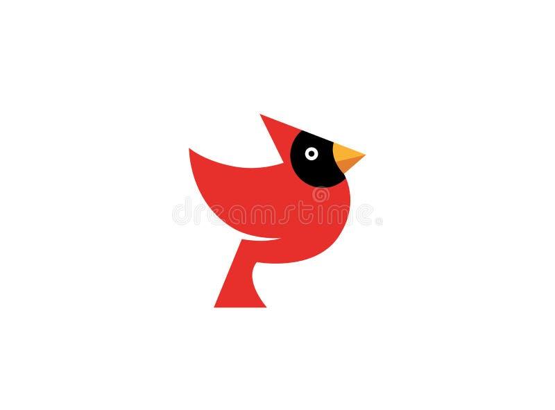 Röd fågel med den svarta framsidan och den gula näbb stock illustrationer