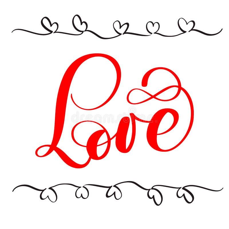 Röd förälskelse för kalligrafibokstäverord lyckliga valentiner för kortdag Rolig borstefärgpulvertypografi för fotosamkopieringar vektor illustrationer