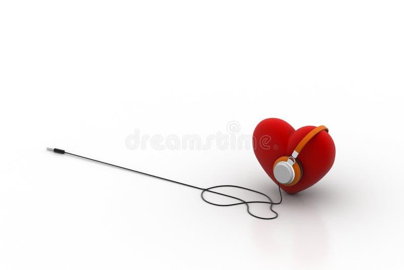 Röd förälskelsehjärta med hörlurar royaltyfri illustrationer