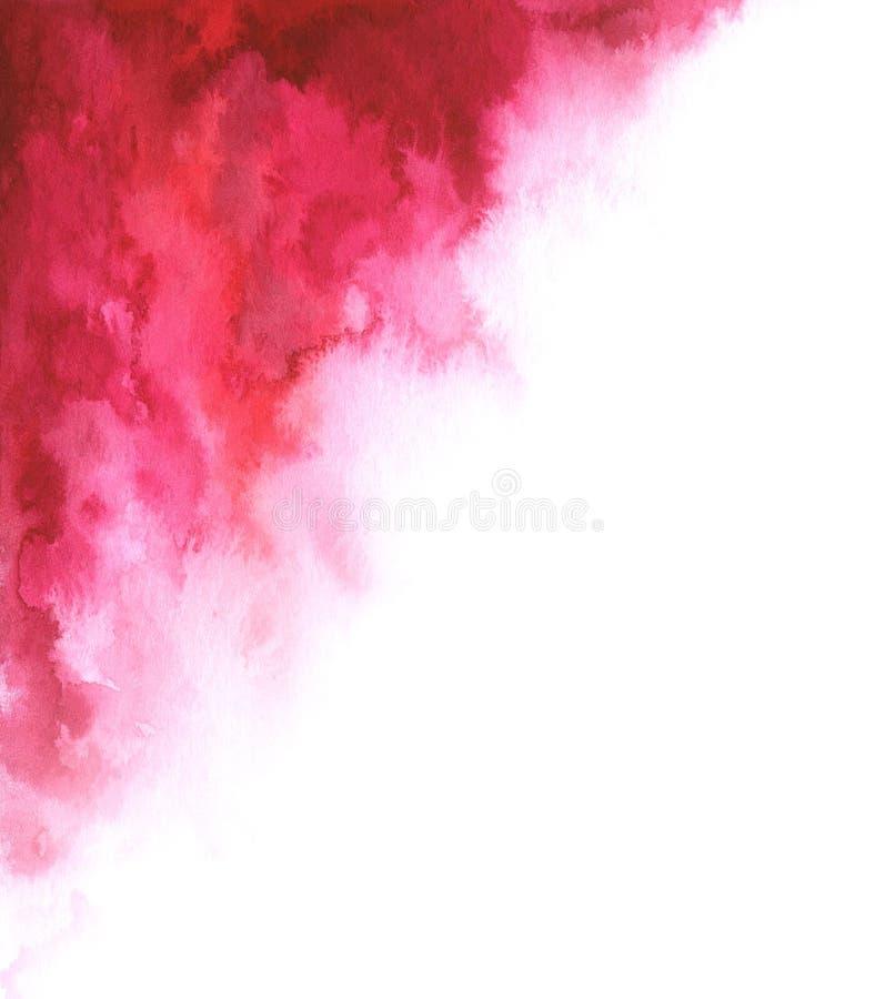 Röd för vattenfärg abstrakt och vit lutningbakgrund för din design royaltyfri illustrationer