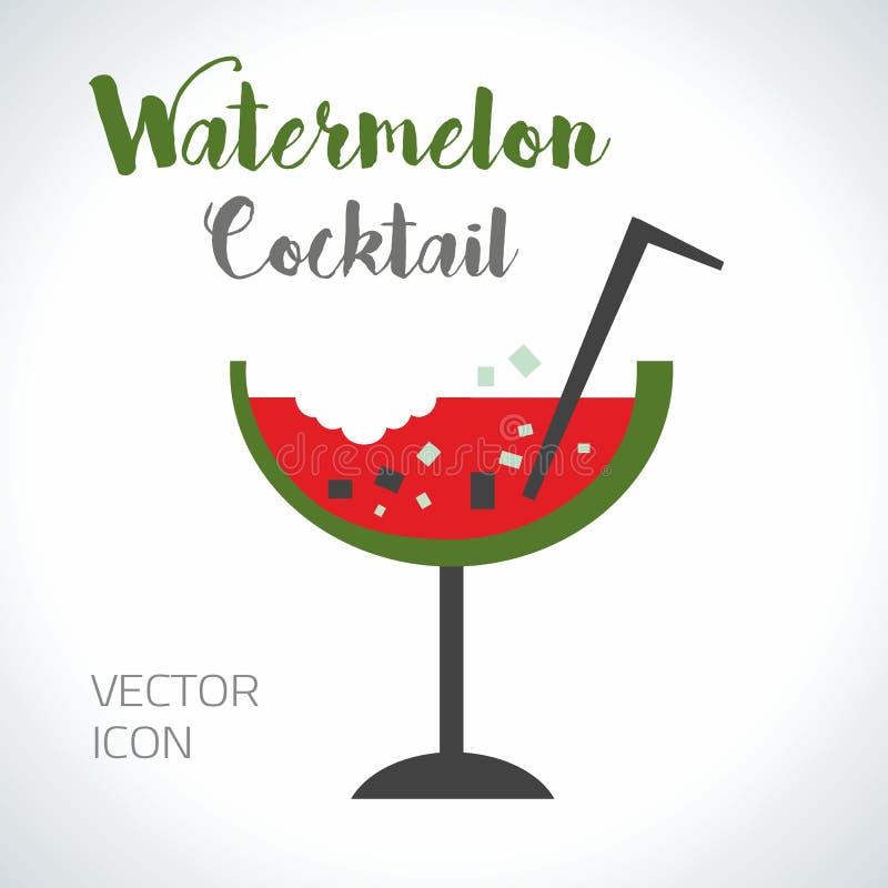 Röd för vattenmelon ny och grön drink, vektorsymbolsillustration royaltyfri illustrationer
