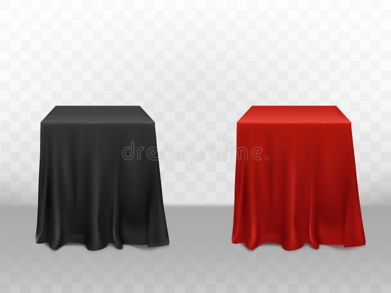 Röd för vektor 3d realistisk svart siden- bordduk stock illustrationer