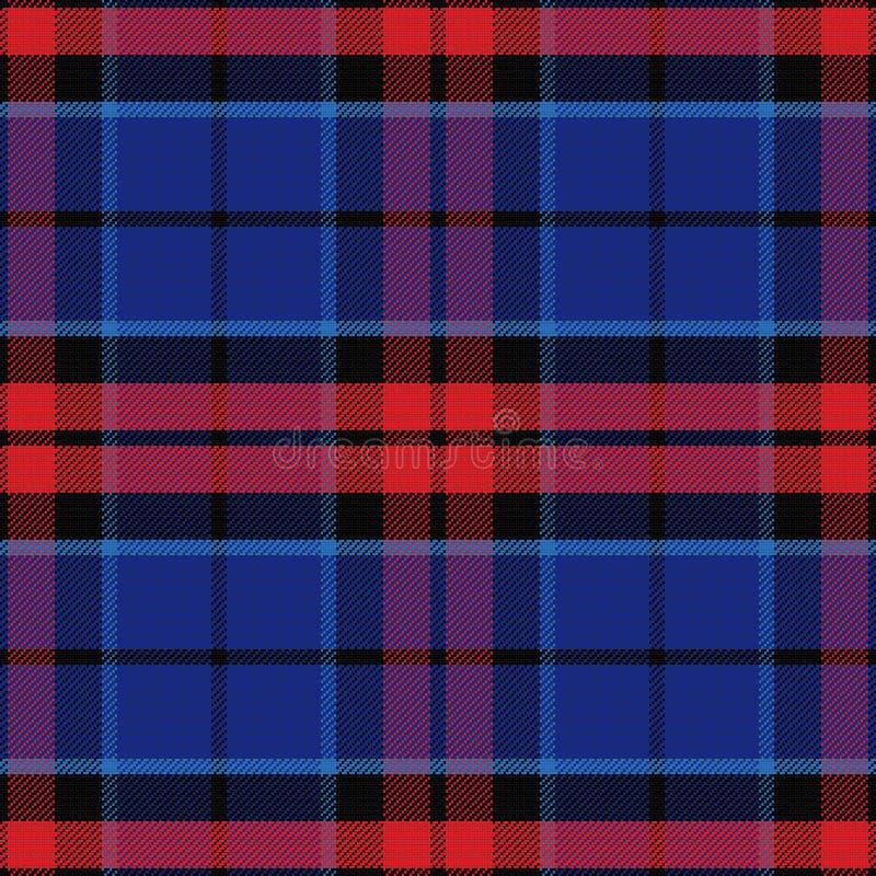Röd för vektor sömlös och blå skotsk tartan royaltyfri illustrationer
