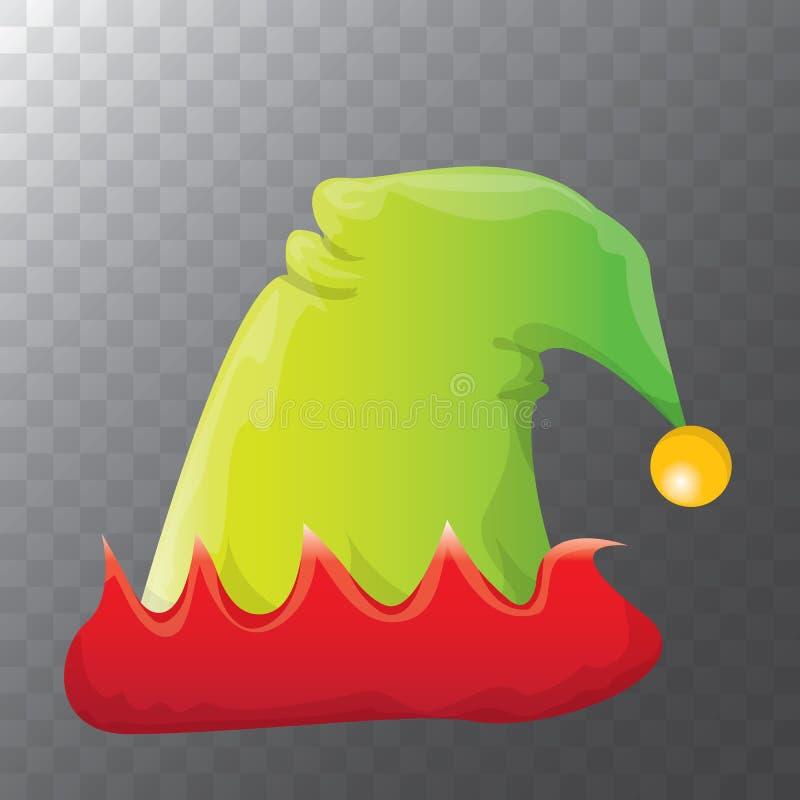 Röd för vektor skraj och grön för julälva för avriven tecknad film som hatt isoleras på genomskinlig bakgrund vektorn lurar färgr vektor illustrationer