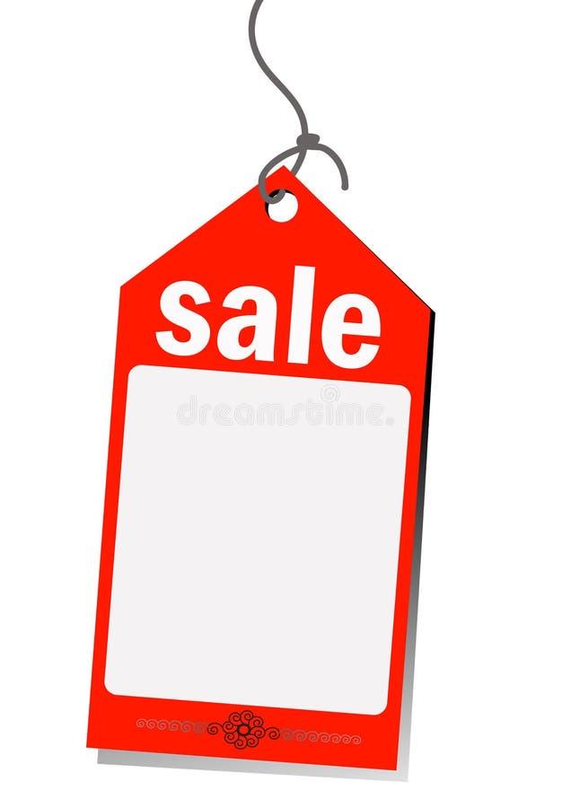Röd försäljningsetikett royaltyfri illustrationer
