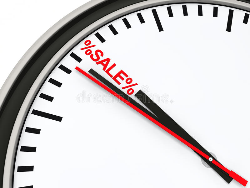 röd försäljningstid för klocka 3d vektor illustrationer