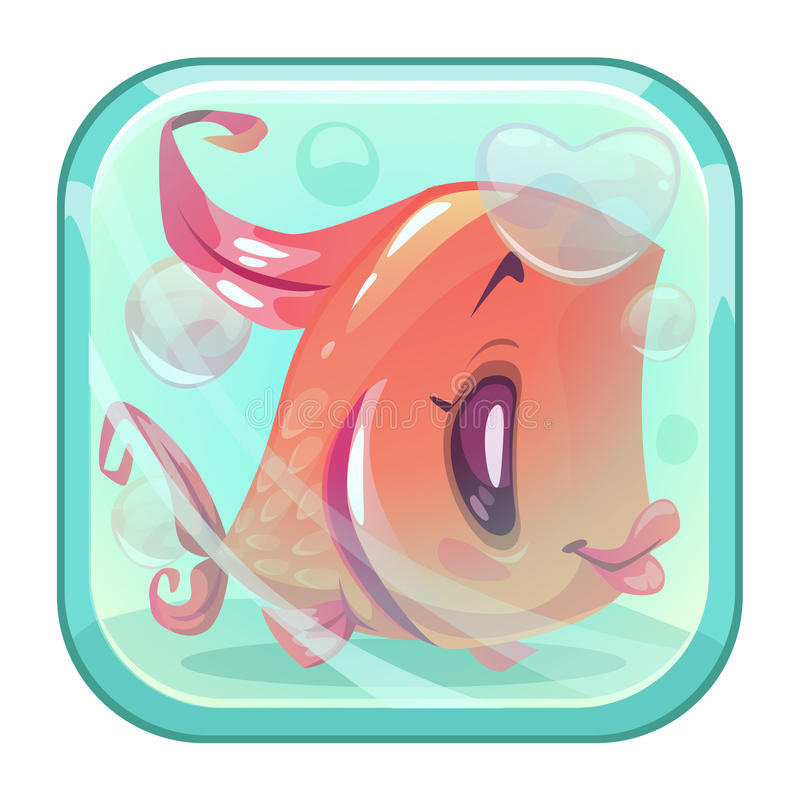 Röd fisk för gullig tecknad film bak exponeringsglaset stock illustrationer