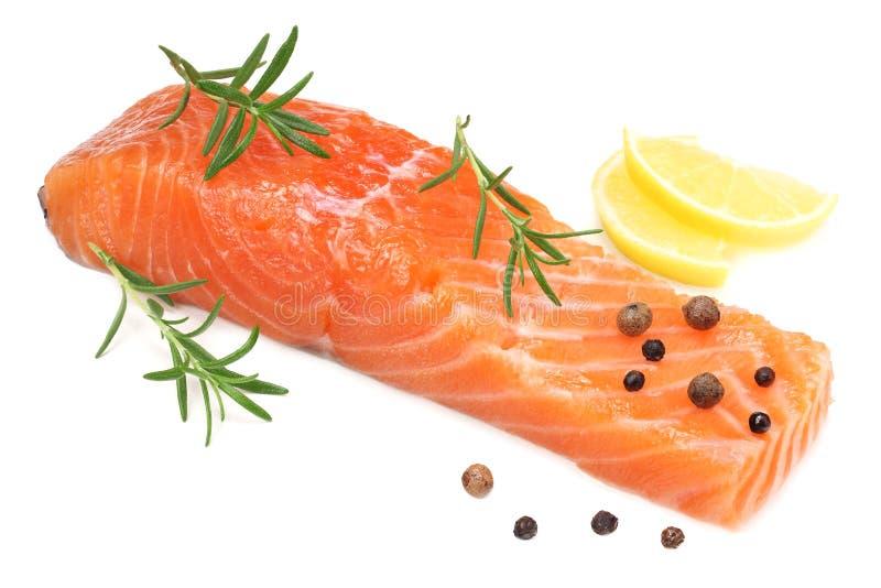 Röd fisk Rå laxfilé med rosmarin- och citronisolaten på vit bakgrund royaltyfria bilder