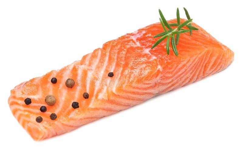 Röd fisk Rå laxfilé med rosmarinisolaten på vit bakgrund arkivfoto