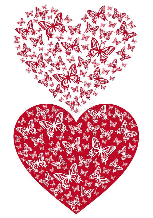 Röd fjärilshjärta, vektor royaltyfri illustrationer
