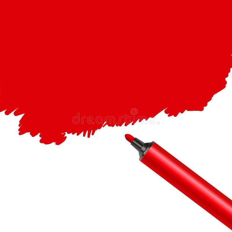 Röd fläck för markörpenna som isoleras på en vit bakgrund Klottra konstnärligt konstverk för fläck stock illustrationer