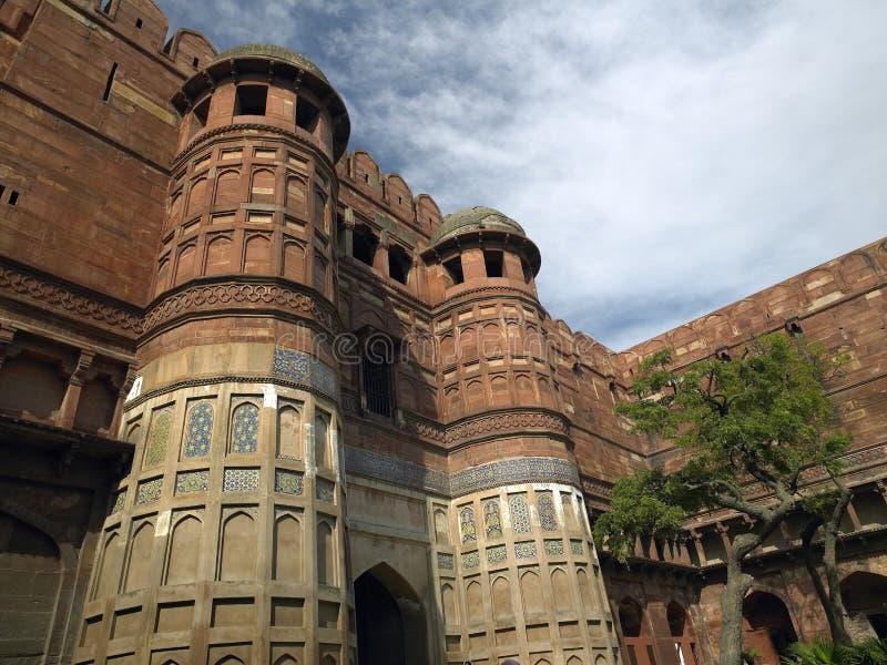 Röd Fort - Agra - Indien royaltyfria foton