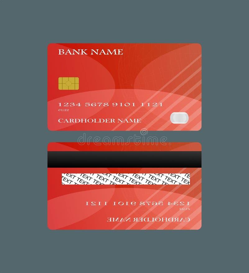 Röd framdel för kreditkort och tillbaka isolerat på vit bakgrund Vektorillustrationbegrepp design för affärsshoppingbetalning stock illustrationer