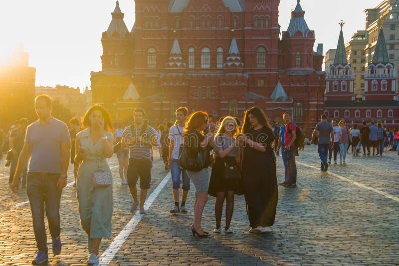 Röd fyrkant, det centrala området i Moskva arkivfoton