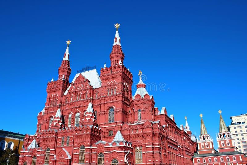röd fyrkant för historiskt moscow museum royaltyfria bilder