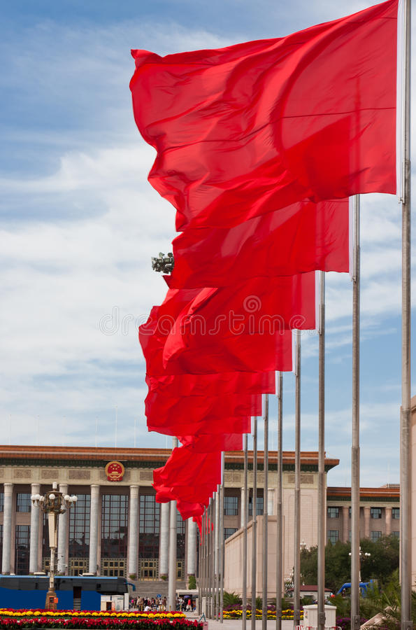 röd fyrkant tiananmen för beijing flagga arkivfoto