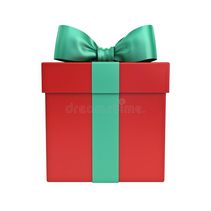 Röd gåvaask eller julklappask med det gröna bandet och pilbåge som isoleras på vit bakgrund royaltyfri foto