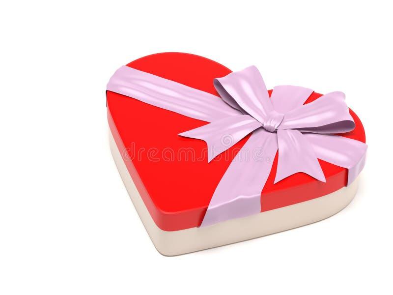 Röd gåvaask i hjärtaform Stängd behållare som dekoreras med den rosa bandpilbågen 3d som fäster den lätta redigerande mappillustr stock illustrationer