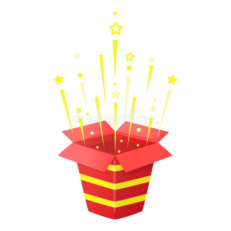 Röd gåvaask med glitter och konfettier Öppnad överraskning med band Partiexplosioner Kupong- eller banerdesign vektor vektor illustrationer
