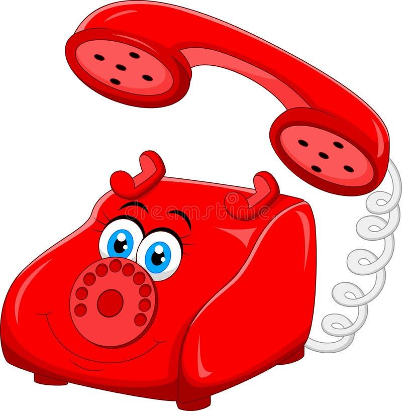 Röd gammal Retro roterande telefon för tecknad film vektor illustrationer