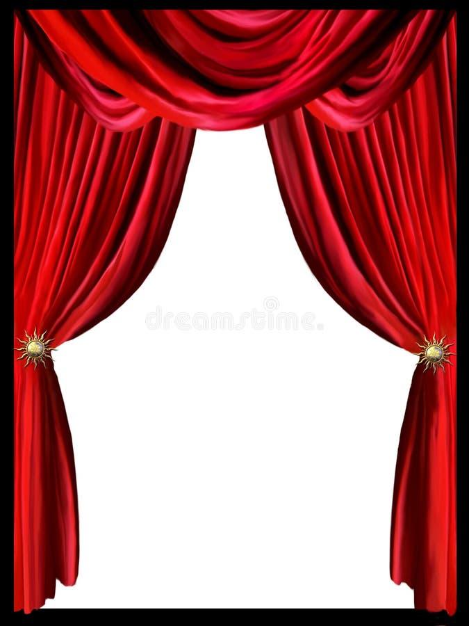 Röd gardin stock illustrationer