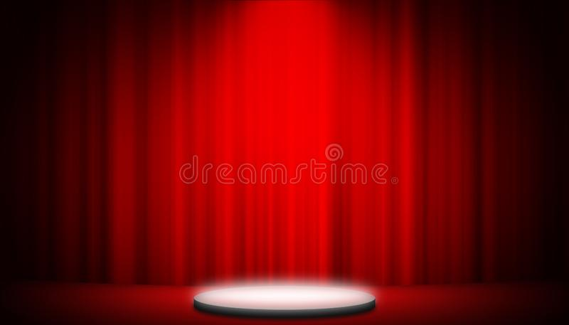 Röd gardin för teater på bakgrund för etappdiagramunderhållning, röd gardinbakgrund royaltyfria bilder
