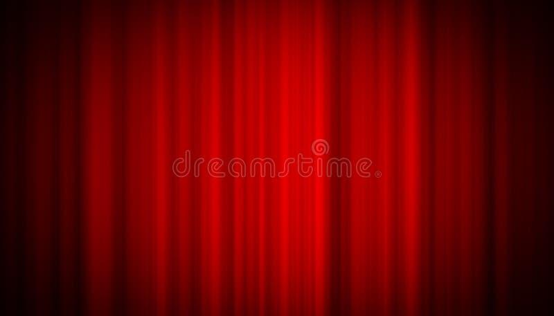Röd gardin för teater på etappunderhållningbakgrund, röd gardinbakgrund arkivfoton