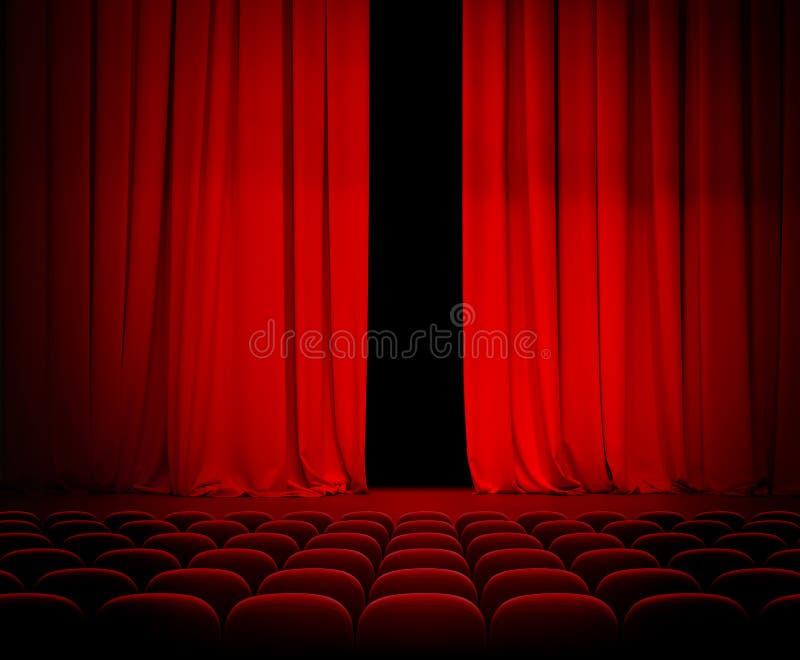 Röd gardin för teater som är öppen med platser royaltyfri bild