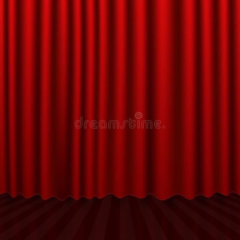 Röd gardin för utställningar och scenisk inre premiärscr stock illustrationer