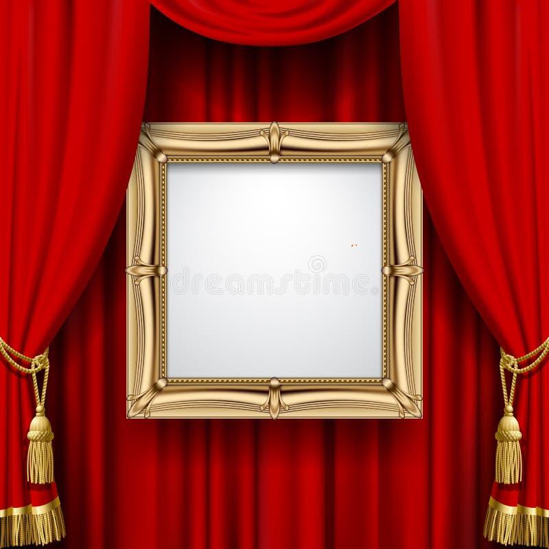 Röd gardin med en guld- ram royaltyfri illustrationer