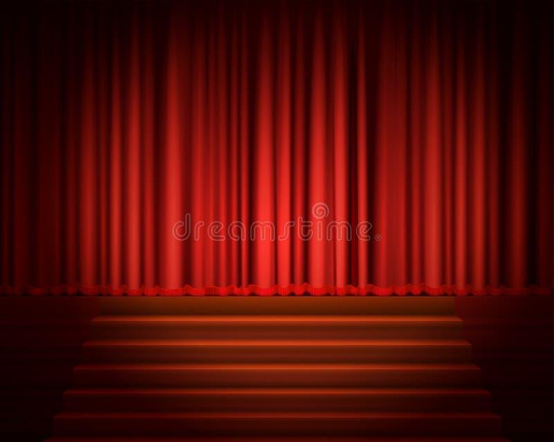 Röd gardin med en strålkastare och en trappa vektor illustrationer