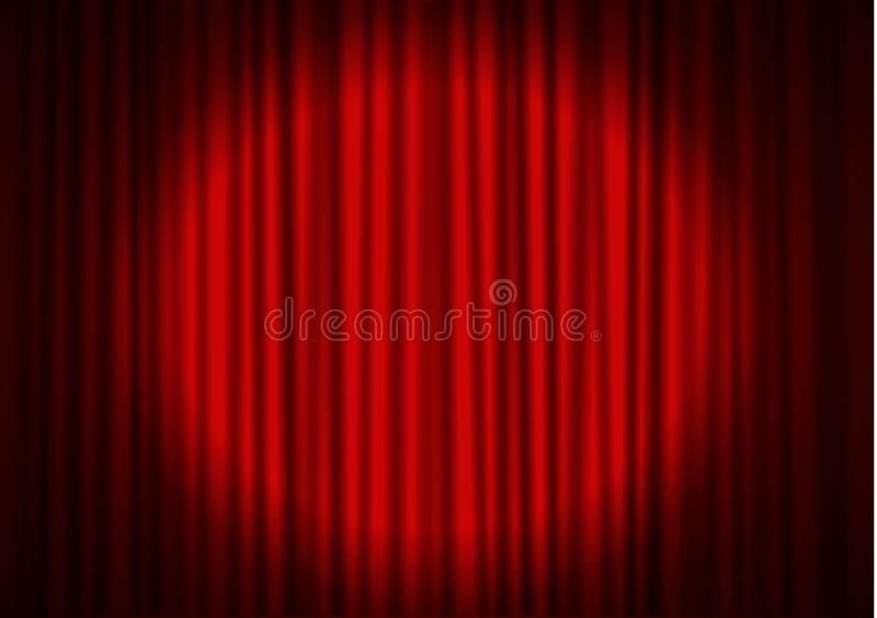 Röd gardin med strålkastaren i teater Vektor för gardin för sammettygbio Strålkastare på stängt bryskt royaltyfri illustrationer